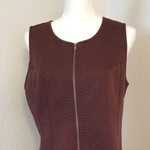 Ann Taylor Quilted  Burgundy Full zip dress sz 14